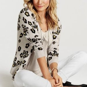 Cabi Kiki Geometric Leopard Sweater Cardigan 5277